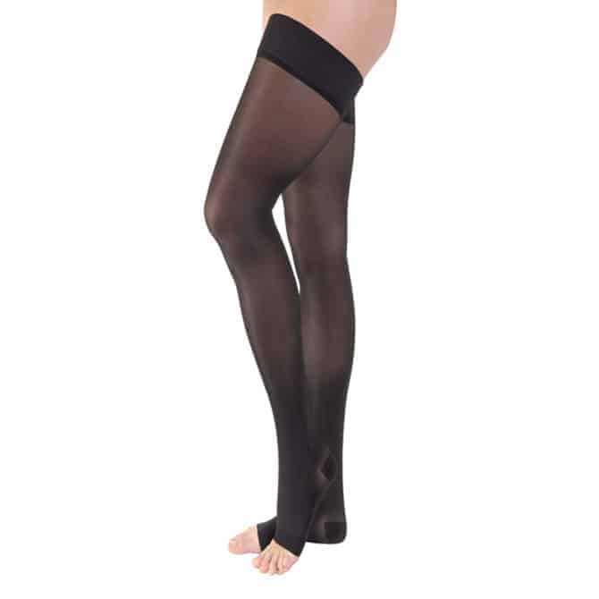 Opaque 30-40 Thigh High Silicone Dot Band Open Toe Classic Black