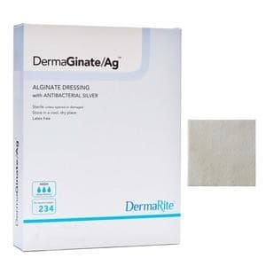 "DermaGinate Ag Alginate Wound Dressing with Antibacterial Silver, 4"" x 8"""