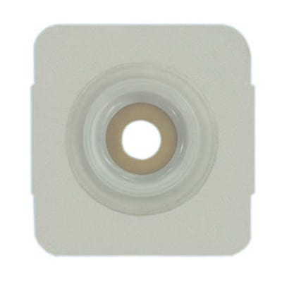 "Securi-T USA Two-Piece Pre-Cut 1 3/8"" Opening Extended Wear Convex Wafer with Flexible Tape Collar 5""x 5"" 2 1/4"" Flange"