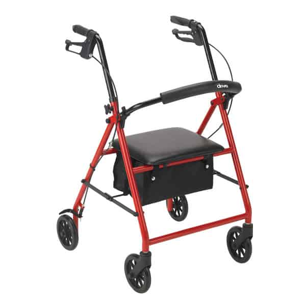 "Rollator with 6"" Wheels, Red"