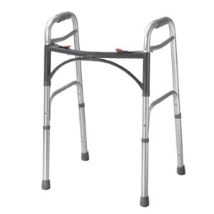 "Guardian Easy Care Adult Folding Walker 5"" Fixed Wheels"
