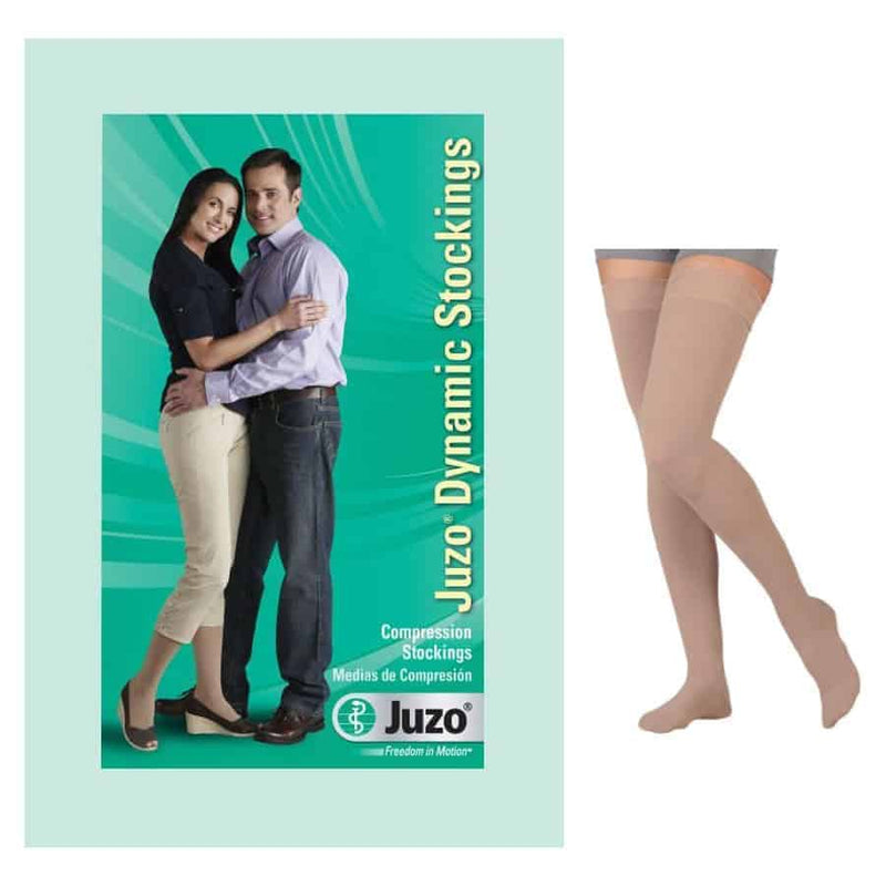 Dynamic Thigh-High with Silicone Border, 30-40, Full Foot, Beige, Size 2