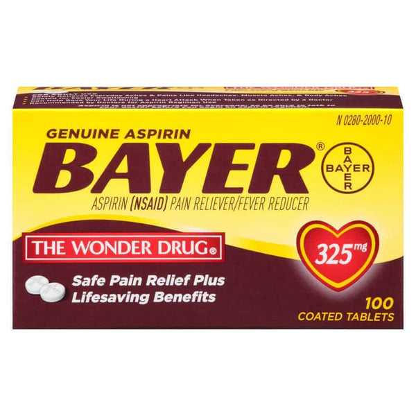 Genuine Bayer Aspirin Coated Tablets 325mg, 100 ct