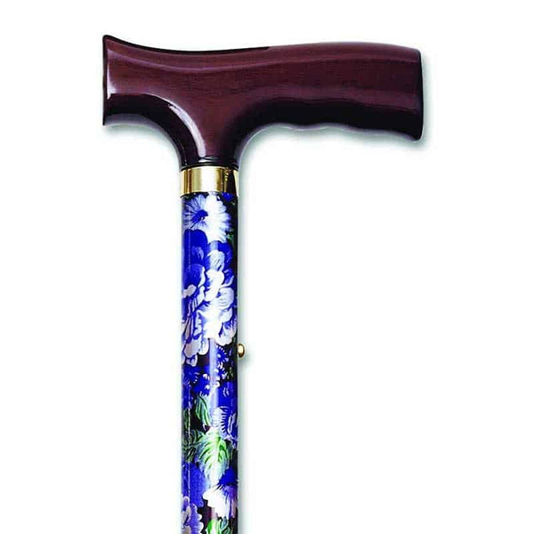 "Folding Travel Cane with Fritz Handle, Mauve Floral, 33"" - 37"""