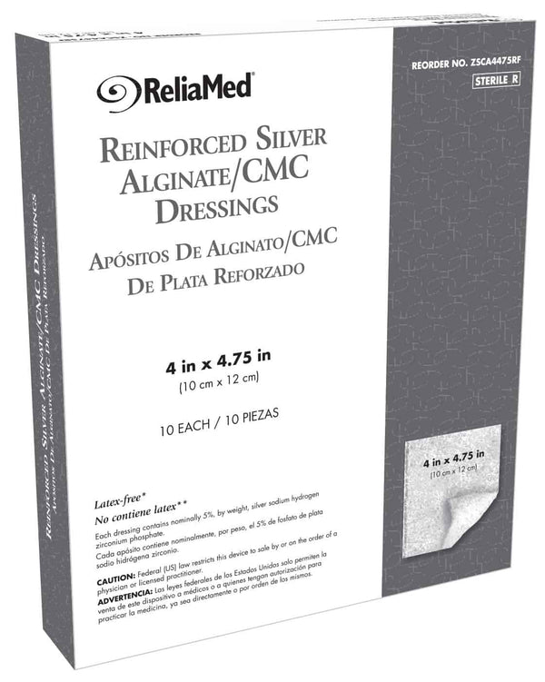 "Reliamed Reinforced Silver Alginate/CMC Dressing 4"" x 4.75"""