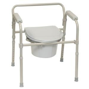 PMI ProBasics™ Three-In-One Folding Patient Commode, 350 lb Capacity, Gray
