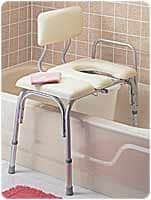 Vinyl Padded Bathtub Transfer Bench w/Cut Out,Pail