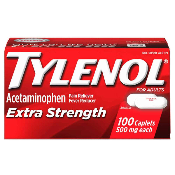 Tylenol Extra Strength, 500 mg Acetaminophen caplet, 100 count