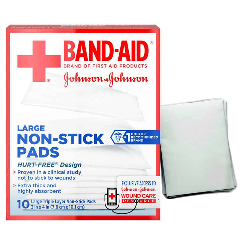 "J AND J Band-Aid First Aid Non-Stick Pads, Large, 3"" x 4"", 10 ct."