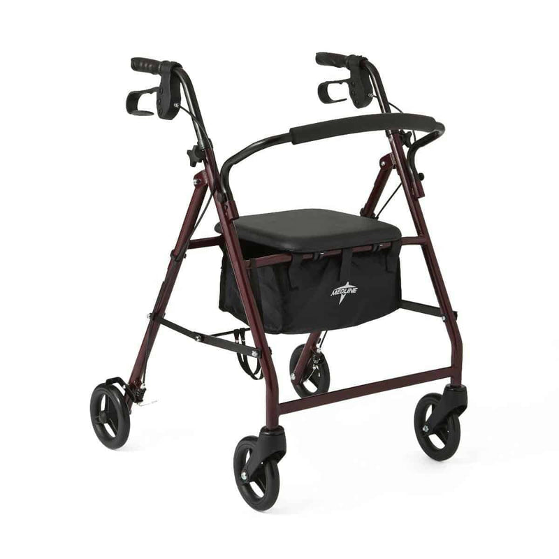 "Basic Rollator, Burgundy, 31"" - 35"", 6"" Wheel Size"