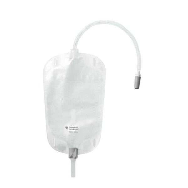Conveen Security + Leg Bag Levered Opening, Non-Latex Straps, 6 cm Tubing, Sterile, 17 oz, 500 mL