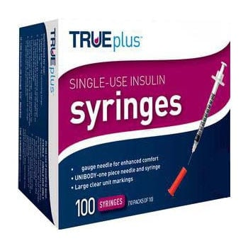 "Trueplus Single-Use Insulin Syringe, 31G x 5/16"", .3 mL (100 Count)"