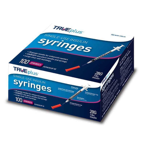 "Trueplus Single-Use Insulin Syringe, 28G x 1/2"", 1 mL (100 Count)"