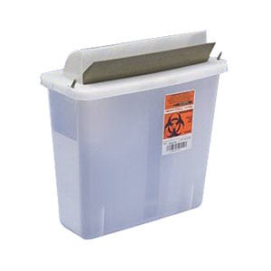 In-Room Sharps Container with Mailbox-Style Lid 5 Quart