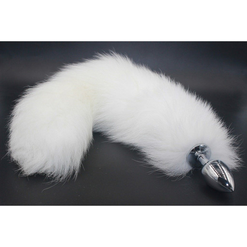 "18"" Shapeable White Fox Tail Plug"