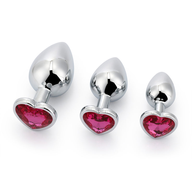 Jeweled Heart-shaped Princess Plug For Beginners, 3 Plug Set - 10 Colors