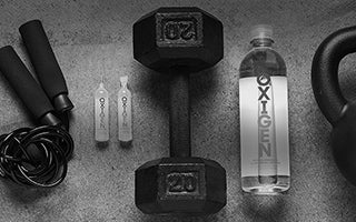 Free weights and Oxigen recovery water 20oz and 1L