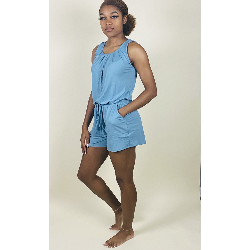 Brittney Romper - Blue Grey - Quisha's Closet