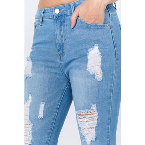Light Denim Monae Distressed Jeans - Quisha's Closet