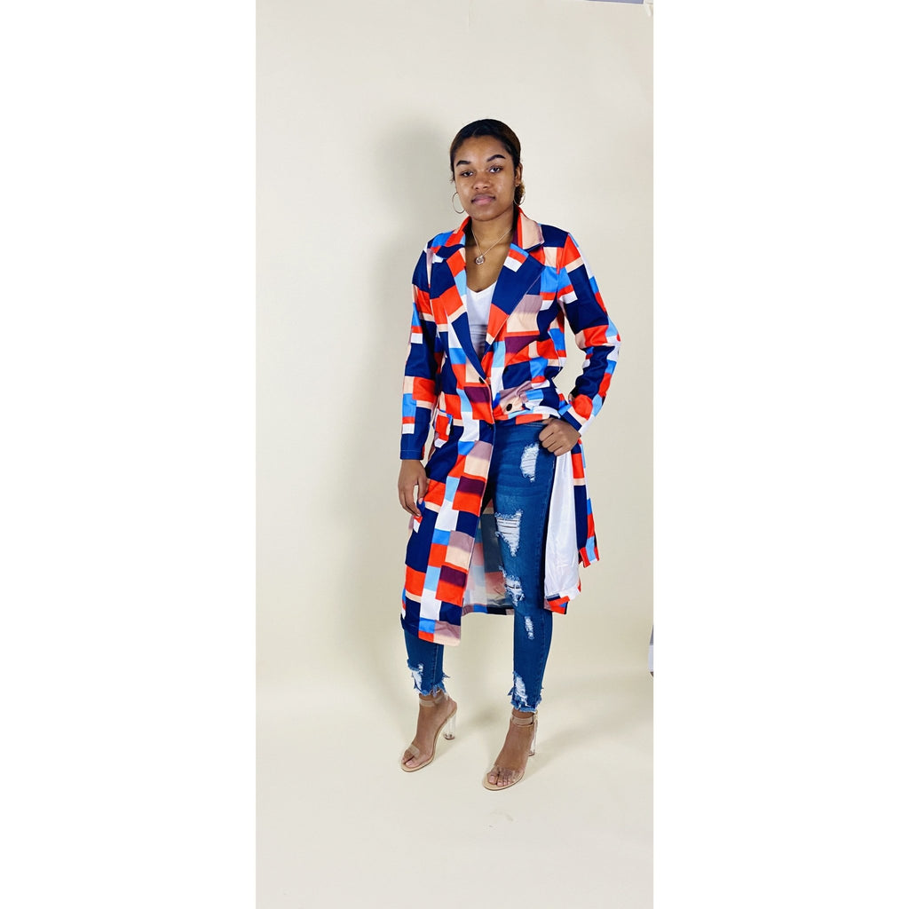 Patterned Long Jacket - Quisha's Closet