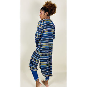 Striped Cardigan- Blue - Quisha's Closet