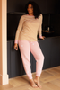 O&F Heart Embroidered Joggers - Pink