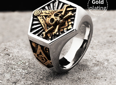 Masonic Hexagon Skull Stainless Steel - Razzyy