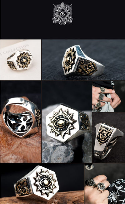 925 Silver Devil Eyes Masonic Ring - Razzyy
