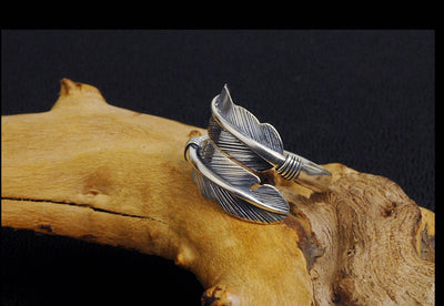 Adjustable Feather Ring Real Silver - Razzyy
