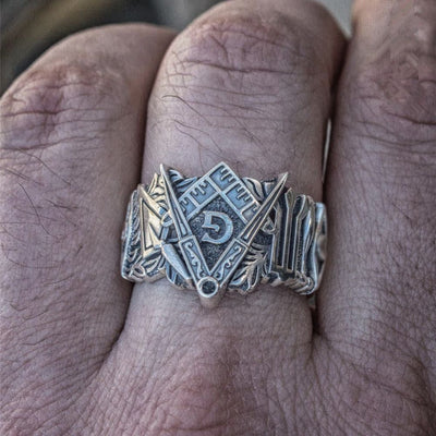 Stainless Steel Masonic Symbol Rings - Razzyy
