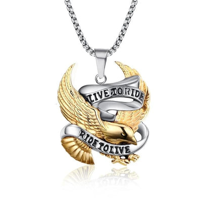 Live To Ride Eagle Pendant Stainless Steel - Razzyy