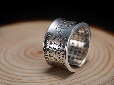 999 Silver Heart Sutra Signet Lotus Ring - Razzyy