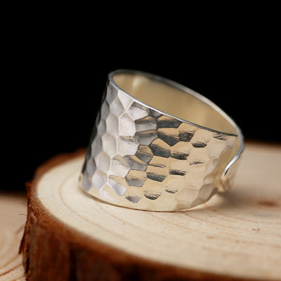 Wide Water Ripples Silver Ring - Razzyy