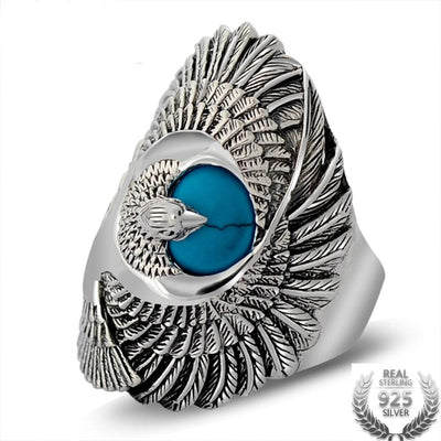 Natural Turquoise Eagle Wings Ring Silver 925 - Razzyy