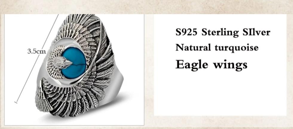 Natural Turquoise Eagle Wings Ring - Razzyy