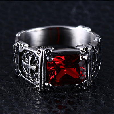 Vintage Red Stone Knight Ring Stainless Steel - Razzyy