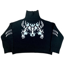 "Load image into Gallery viewer, ""CG Cerberus"" Knit Sweater Black"