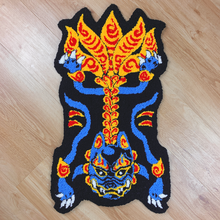 "Load image into Gallery viewer, ""HAND MADE"" kitsune WALL HANGING RUG blue"