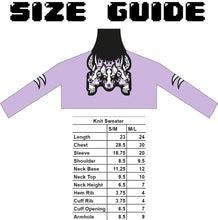 "Load image into Gallery viewer, ""CG Cerberus"" Knit Sweater Lilac"