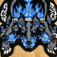 "Load image into Gallery viewer, HAND MADE "" Cerberus"" WALL HANGING RUG blue"