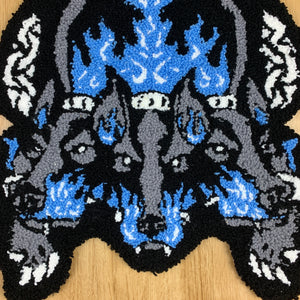 "HAND MADE "" Cerberus"" WALL HANGING RUG blue"