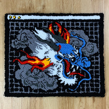 "Load image into Gallery viewer, HAND MADE "" CYBER DRAGON"" WALL HANGING RUG black"