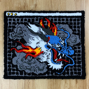 "HAND MADE "" CYBER DRAGON"" WALL HANGING RUG black"