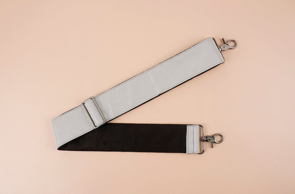 Replacement shoulder bag strap with Reflective material-SILVERY GREY-front