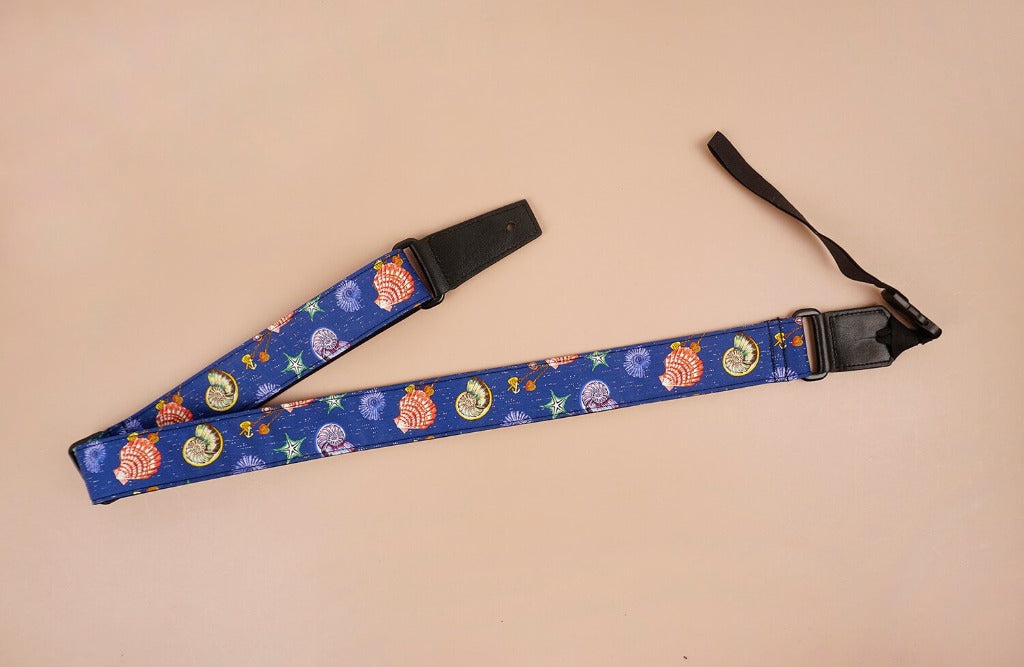 shell printed ukulele shoulder strap-front-3