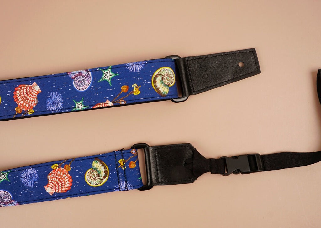 shell printed ukulele shoulder strap-detail-3