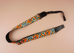 ukulele shoulder strap with red daisy floral printed-front-2