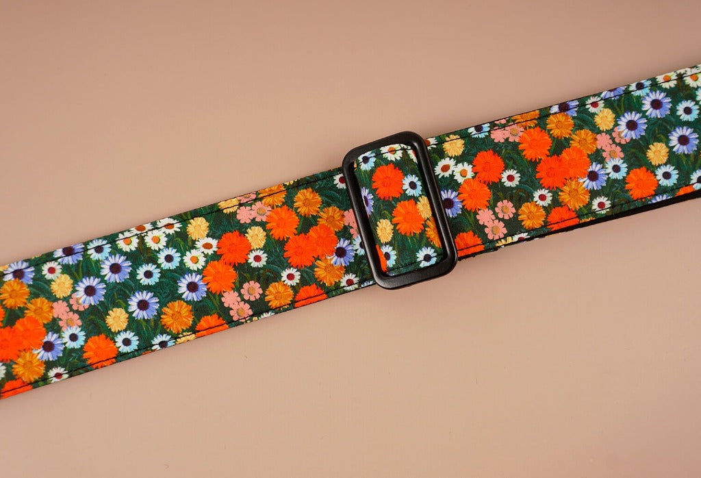 ukulele shoulder strap with red daisy floral printed-detail-3