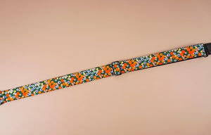 ukulele shoulder strap with red daisy floral printed-detail-1