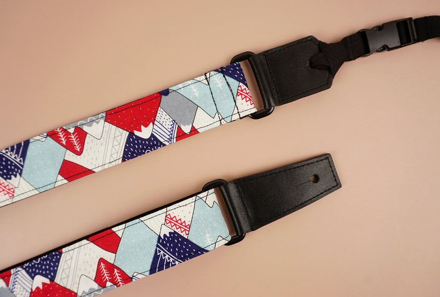 ukulele shoulder strap with hill and forest printed-detail-2